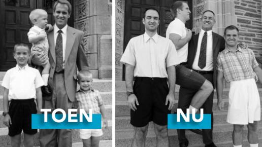 Familiefoto van toen en nu
